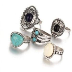 NEW! WOMEN'S BOHO VINATGE 5PC RING SET